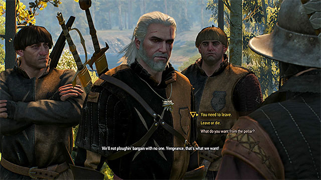 Geralt uses a witcher sign to control a situation